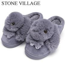Wysokiej jakości damskie kapcie Lovely Rabbit zwierzęta drukuje stałe płaskie buty Indoor zima pluszowe ciepłe domowe kapcie rozmiar 36-43 tanie tanio Dorosłych Slippers Podstawowe 1188 Kryty Tkanina bawełniana KAMIENNA WIOSKA Gumowe Płaskie z Płaski (≤ 1cm) Odbitki zwierzęce