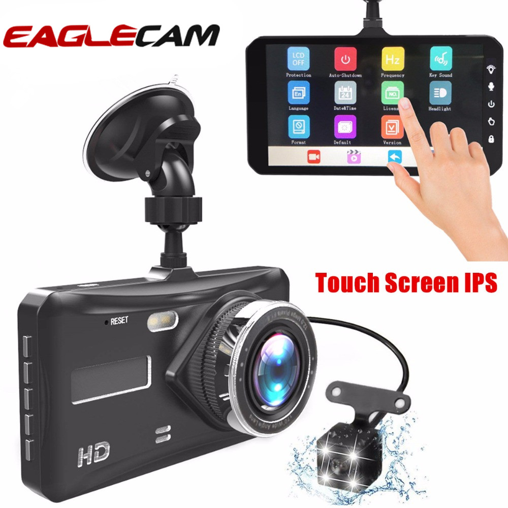 Dash Cam Dual Lens mini Car DVR Full HD 1080P 4 Touch Screen IPS With Backup