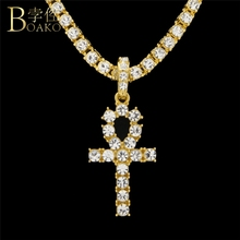 BOAKO Men Necklace Pendant Cross Bling Hip Hop Egyptian Ankh Necklaces Zircon Chain Pendants Women Jewelry Iced Out Z5