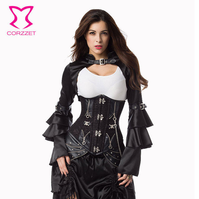 1c7713e07d Corzzet Black Steel Boend Steampunk Underbust Long Corset Waist Trainer  Plus Size Sexy Gothic Corsets And bustiers