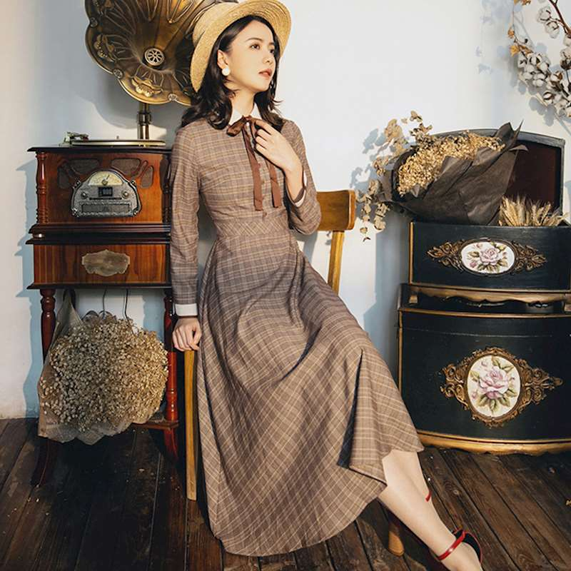 Style français très fée rétro robe femme été rétro français simple boutonnage plus ample était taille robe avec ceinture wq1867