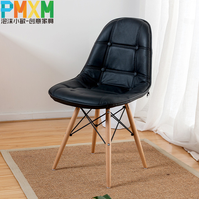 Eames Chair Leather Chair Solid Wood Dining Chairs European Soft Pack  Furniture Minimalist Modern Creative Chair