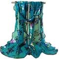 Sheila Women Vintage Colorful Flower Lace Gauze Veil Wrap Scarf Shawl Wrap 100% Brand New High Quality Feminino Bufanda Oct12