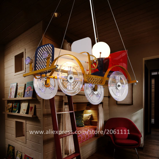Hot Fantasy Iron Material Remote Control Childrens Novelty Lamps Kids Hanging Lights Fancy Cartoon Bubble Car
