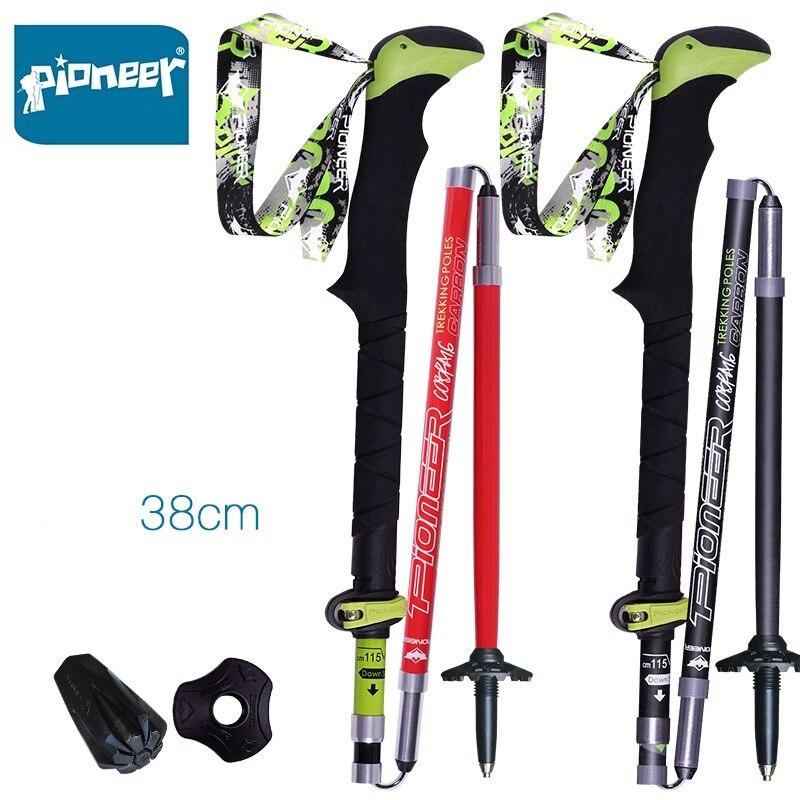 2 pack pionpack EER fibra de carbono Trekking polos ultraligero plegable Trail Running senderismo bastones ligeros bastones - 2