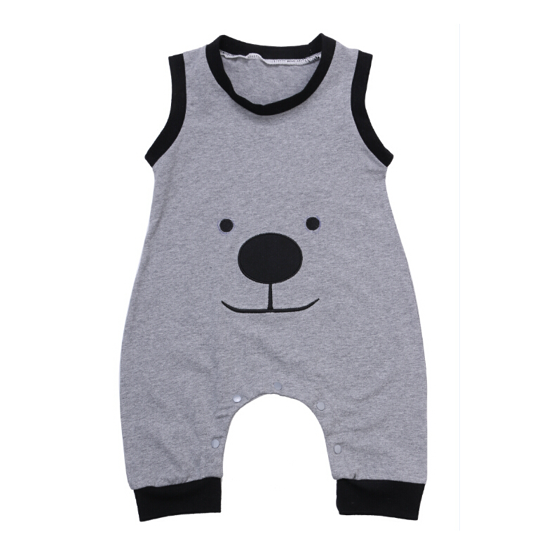 Cute Animals Bear Jumpsuit Outfit Clothes Summer New Sleeveless Newborn Infant Baby Boys Clothes Romper Kids Boy Child Clothing newborn infant baby girl clothes strap lace floral romper jumpsuit outfit summer cotton backless one pieces outfit baby onesie