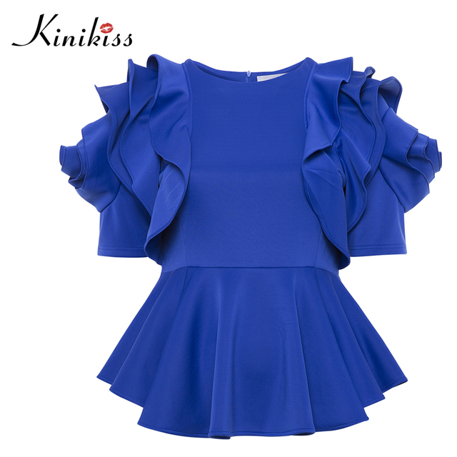 e1b2172fc64 Women Blouse Spring Sexy Slim Elegant Royal Blue Ruffles Short Sleeve Shirt  Round Neck Patchwork 2018 Lady Tunic Tops Blouses