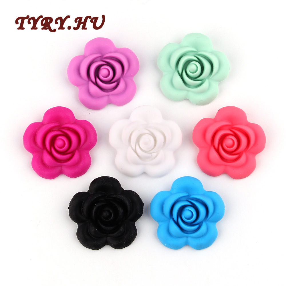 Beads & Jewelry Making Teeny Teeth 9 Pcs Rose Silicone Beads Bpa Free Silicone 3d Rose Flower Diy Teething Beads For Food Grade Nursing Necklace Toys Attractive Appearance Beads