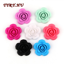 hot deal buy tyry.hu 5pc flower chewable rose silicone beads baby teething toys food grade silicone for diy dummy chain teething necklace