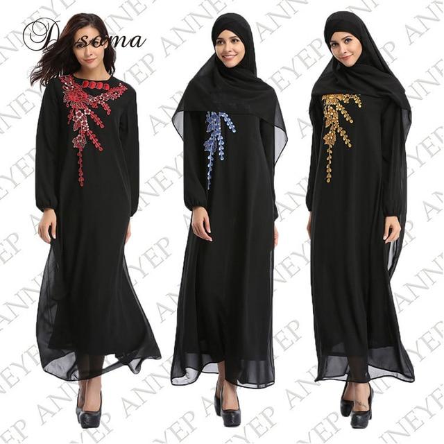 7541a7b78f5 Mode Robe Musulmane Femmes Abaya Embrodiery Fleur En Mousseline de Soie  Arabe Longues Robes Islamique Dubai