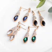 Fashion full crystal drop earrings Ocean heart earrings artificial crystal floral hollowed heart drop earrings