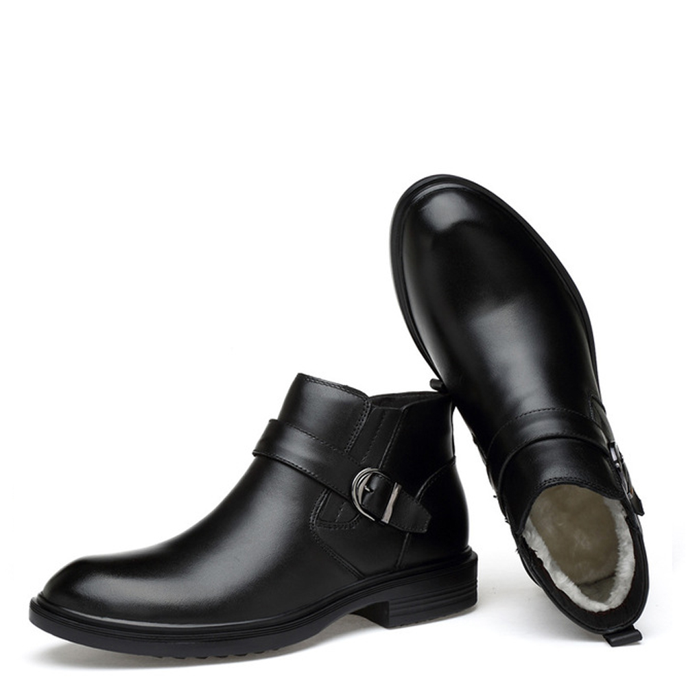 De Botas Militar Ankle Novos black Fur Black Inverno Elástica Fur Couro Sapatos Homens Qffaz Fivela 2018 With Peles Genuíno Boots Dos Neve Without Banda TqIx8CdnC