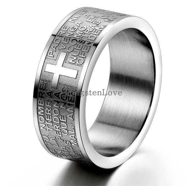 Moda Mens 316L 8 Espanhol Oração do Senhor Bíblia Cruz Anel de Aço Inoxidável mm Banda cor prata anillos hombre mens jóias