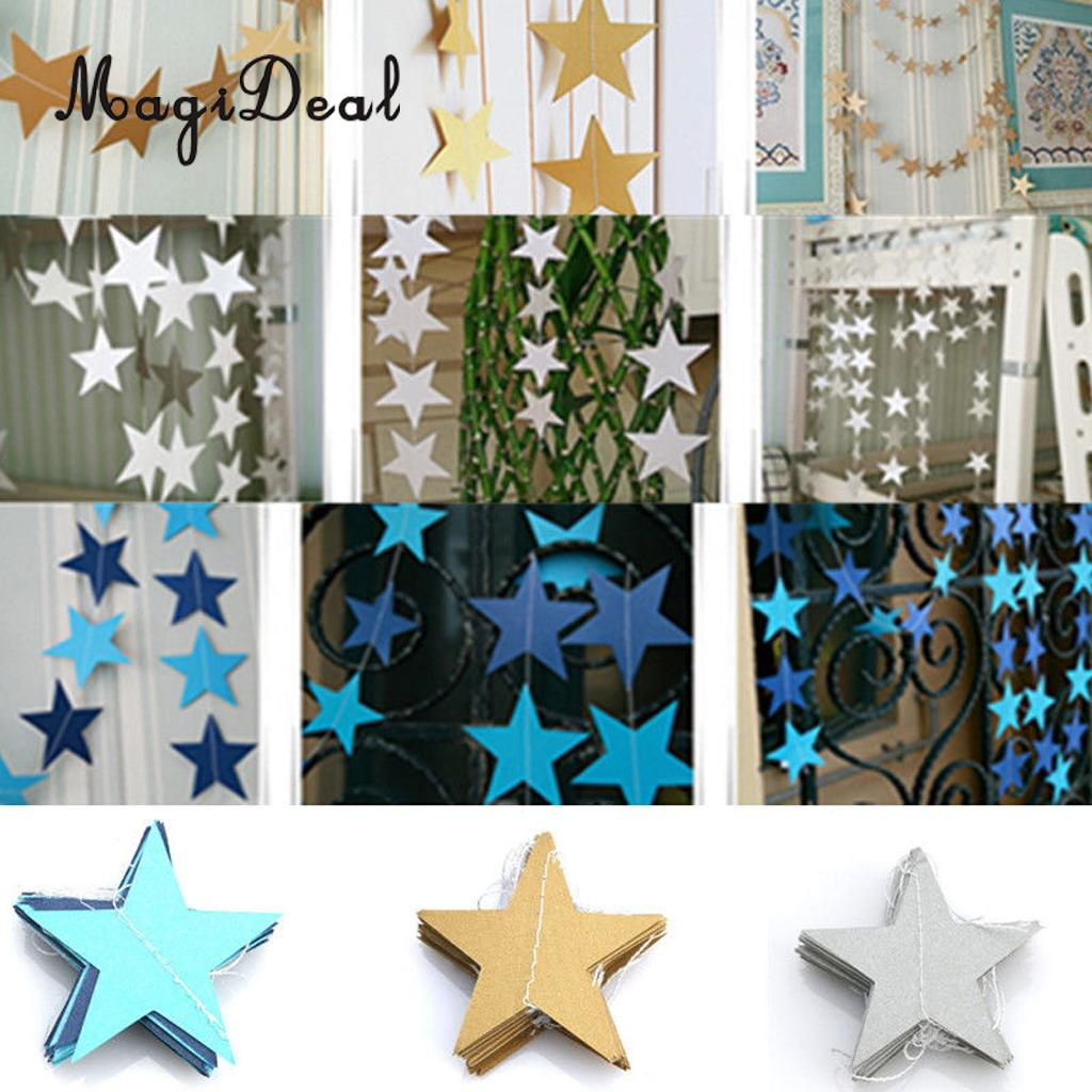 Gold star ornaments - Magideal 1x 4m Gold Silver Blue Paper Star Hanging Ornament Garland Party Home Room Decoration