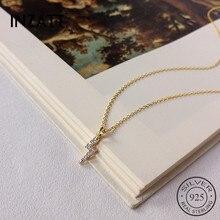 INZATT, настоящее 925 пробы, серебро, Минималистичная циркониевая подвеска с молнией, ожерелье для модных женщин, вечерние ювелирные украшения, подарок в стиле хип-хоп