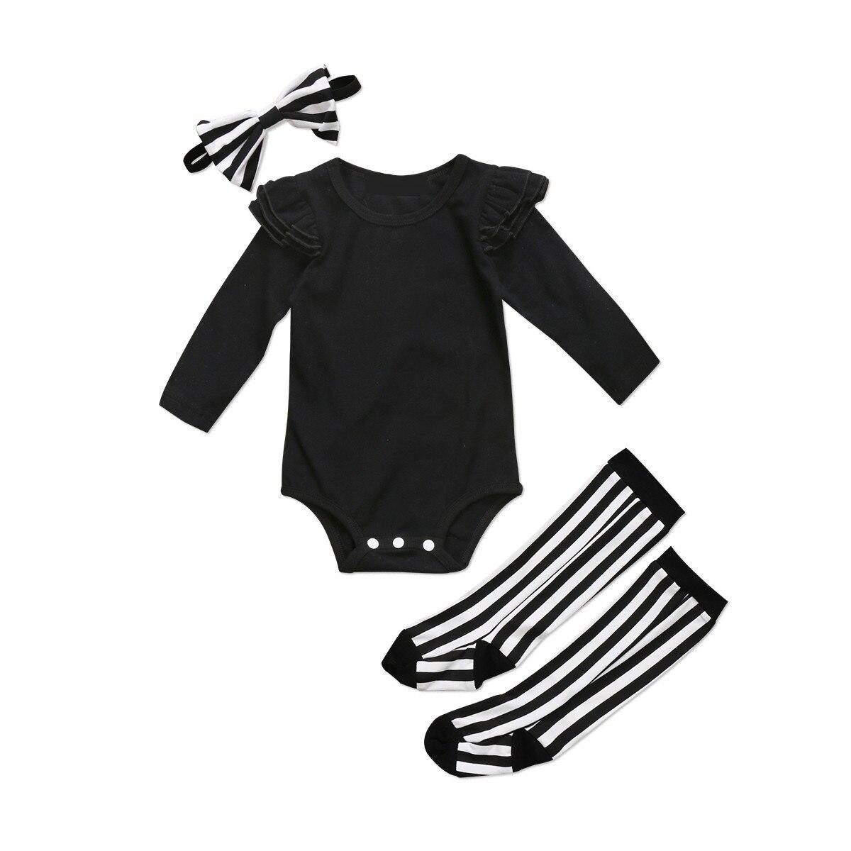 AnpassungsfäHig Pudcoco 2017 Neugeborenen Baby Mädchen Schwarz Flying Hülsen-bodysuit + Leggings Socken Stirnband Outfits Set 2017 Kleidung Ausreichende Versorgung