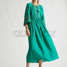 Cuerly Green Bohemian Printed Lace Up High Waist Fit and Flare Dress Plus Size Women Summer Tunic Beach Dresses Robe de plage