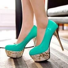 Tamaño 32-43 señoras Del Otoño Del Resorte zapatos de Deslizamiento de La Moda En Punta Redonda cuero de LA PU Delgada Del Alto Talón de Partido Women Shoes 4 color Sólido Verde