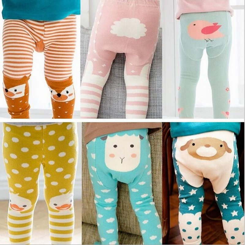 Hot Sale 2016 New Baby Tights Big PP Crotch Cartoon Pantyhose 9 Points Pants Cotton Warm Stockings Tights Baby Tights 8 Types