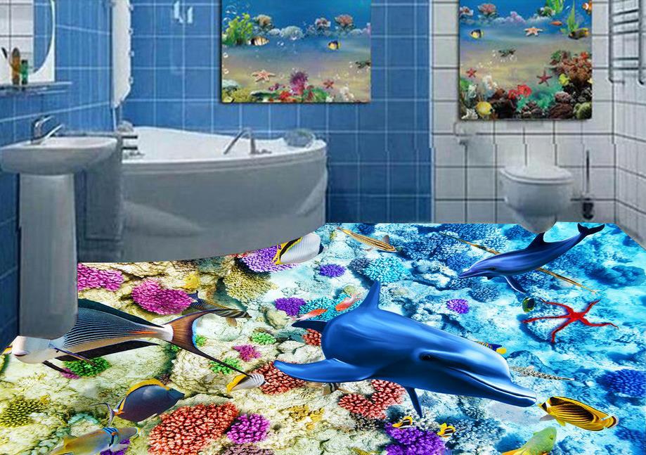 3d flooring room self adhesive wallpaper custom 3d floor Dolphin Coral 3d murals flooring 3d flooring room self adhesive wallpaper custom 3d floor dolphin coral 3d murals flooring
