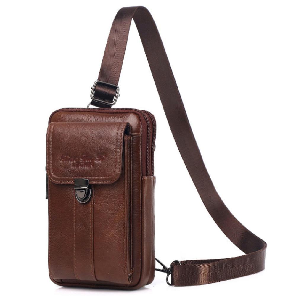Vintage Leather Shoulder Messenger Bag For Men Phone Belt Waist Bag Travel Crossbody Pack Wallet Satchel Sling Chest Bags