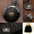 Do vintage Preto Clássico Relógios Em Aço Inoxidável Preto Hunter Completa Mens Mão Winding Mecânica Pocket Watch Steampunk Mulheres Presentes