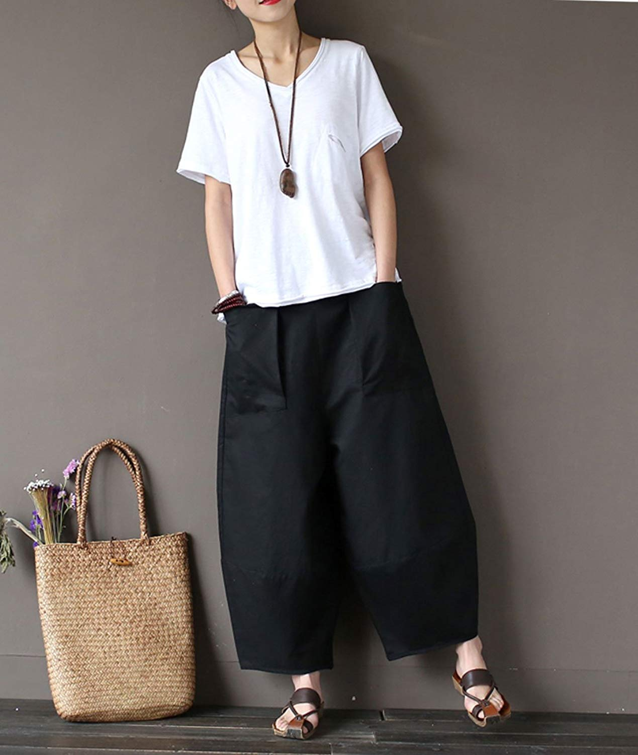 Women Loose Flared Wide Leg   Pants   Pocket Work Casual Palazzo   Pant   Long   Capris   Cotton Stretch Trouser