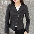 Черный PU кожаные куртки женщины искусственная кожа мотоциклетная куртка весте cuir настоящие pour femme chaquetas cuero de mujer LT766