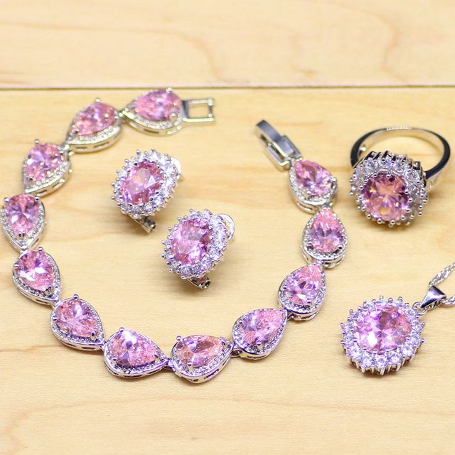 Natural Pink Zircon 925 Sterling Silver Jewelry Sets For Women