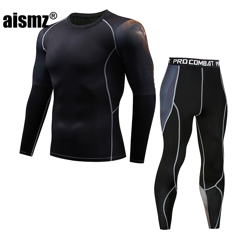 Aismz Mens Compression Set 3D Teen Jerseys Moletom Masculino Tracksuit Men Fitness MMA Crossfit T-Shirts Tights Brand Clothing
