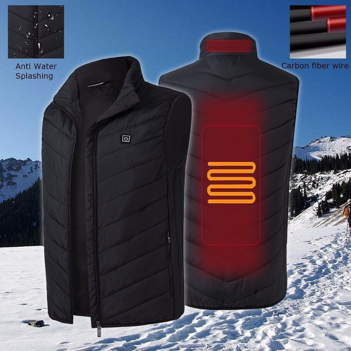 Outdoor Sports Fishing Skiing Electric Heated Vest USB Tactical Intelligent Constant Temperature Ski Heating Vest Heated Jacket