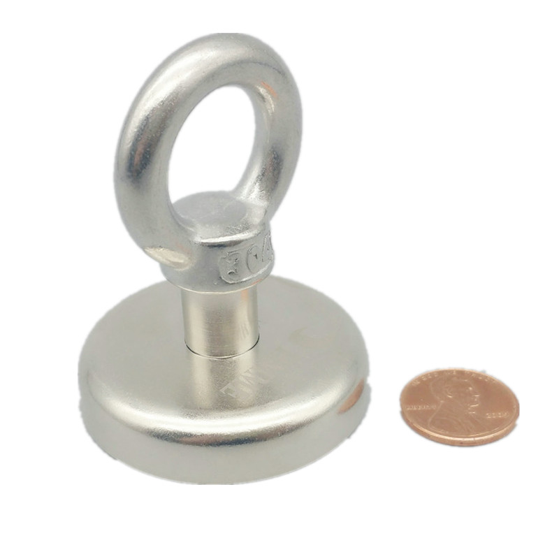 High Pulling Lifting Magnet Diameter 48mm Holder Magnetic Pot w/. ring Strong Neodymium Permanent deep sea salvage magnet zhangyang 120kg pulling mounting d60mm strong powerful neodymium magnetic pot with ring fishing gear deap sea salvage equipment