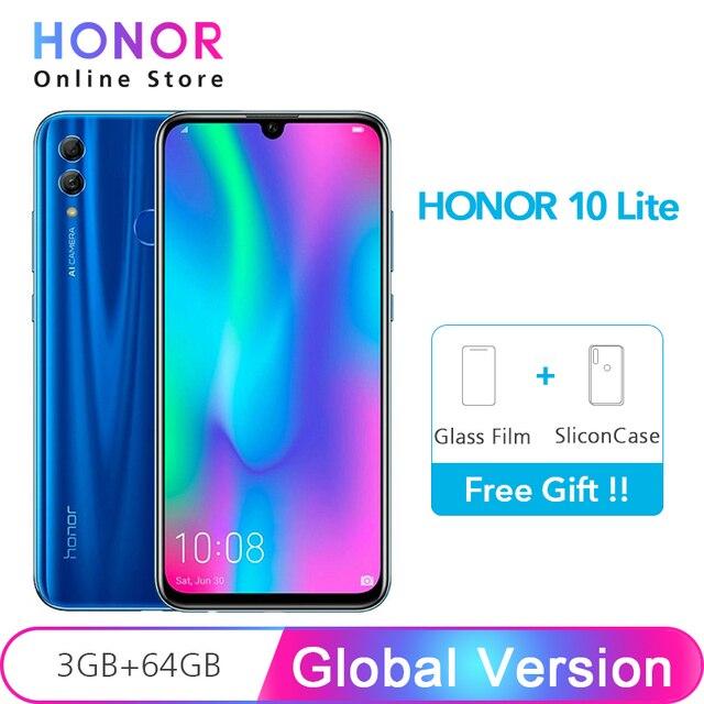 Huawei Honor 10 Lite глобальная версия 3 Гб 64 Android 9,0 Octa Core 6,21 дюймов 2340*1080 P 24MP камера Google Play телефона