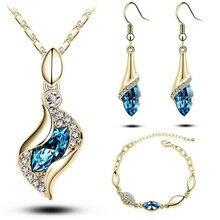 Dama распродажа MODA элегантный роскошный дизайн Новая мода Позолоченные Разноцветные Австрийские кристаллы Висячие Ювелирные наборы для женщин подарок