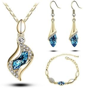 Dama Sales MODA Elegant Luxury Design New Fashion Gold Filled Colorful Austrian Crystal Drop Jewelry Sets Women Gift(China)