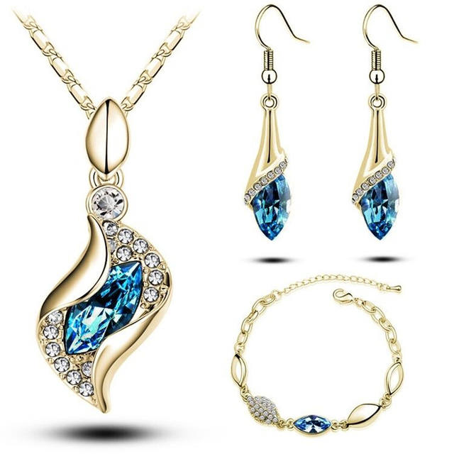 Luxury Design New Fashion Gold Filled Colorful Austrian Crystal Drop Jewelry Sets Women Gift