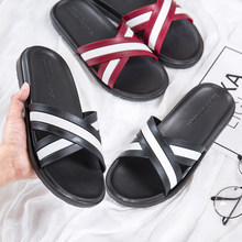 купить Slippers Woman Shoes 2019 Summer Fashion Beach Slippers Flat Leather Shoes Woman Slippers Male Flip Flops по цене 236.27 рублей