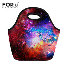 Lunch-Bags Cooler Neoprene Insulated Food-Box Women Fashion FORUDESIGNS 3D Universe Space
