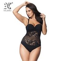 Hot Sale Sexy High Cut Swimsuit One Piece Swimwear Women Plus Size One Piece Black Lace