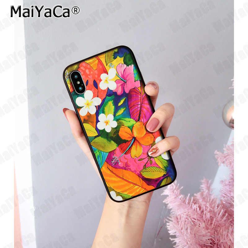 MaiYaCa Tropical สีดอกไม้พืช Soft ซิลิโคน TPU สำหรับ iphone ของ Apple iphone 8 7 6 6 วินาที Plus X XS สูงสุด 55 วินาที SE XR XS
