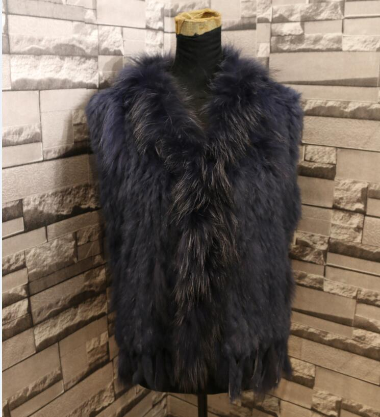high quality Hot Sale Retail/wholesale Raccoon Dog Fur Collar Trim Women Knitted Natural Rabbit Fur Vest Gilet/waistcoat