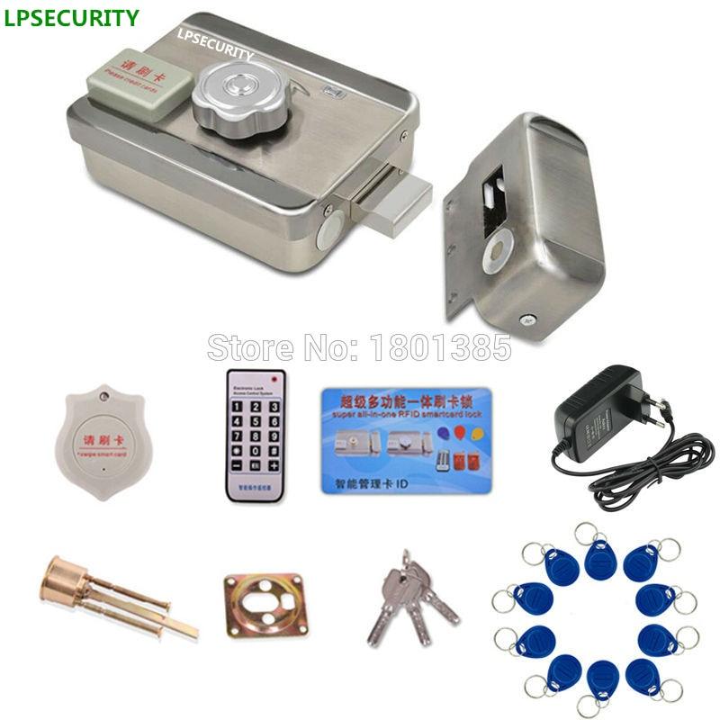 Sistema de Control de acceso por radiofrecuencia ipsecurity intercomunicador kit de bloqueo de puerta + cerradura para verja eléctrica 10 chips de identificación + adaptador de corriente (opcional)