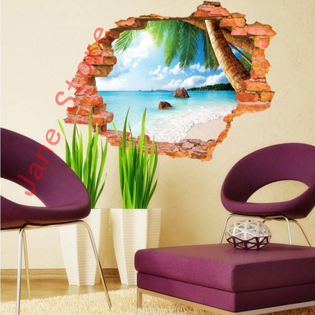 60*90cm Creative Beach fashion personality 3D stereoscopic  broken wall effect Backdrop Wall sticker aw8001F