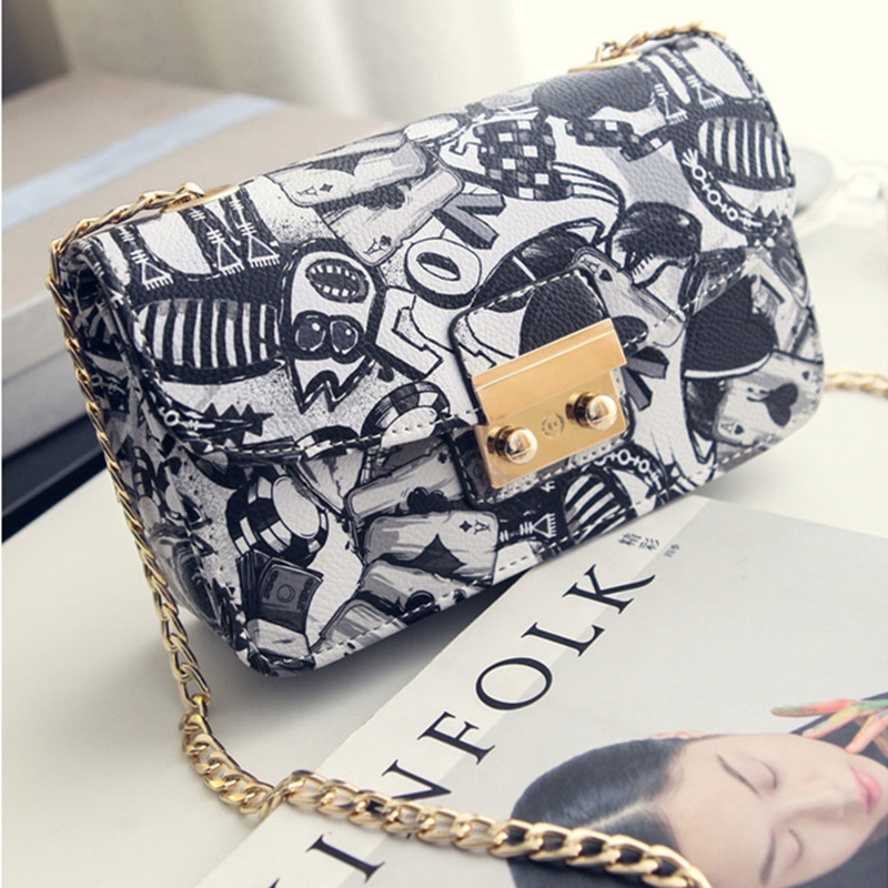 Image 3 - 2019 New Women Bags Summer Graffiti Ladies designer handbags high quality chain mini bag women messenger bags for women Clutchmessenger bags for womenmini bag womendesigner women bag -