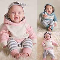 Комплект из 3 предметов; Одежда для новорожденных мальчиков и девочек; сезон осень-зима свитер с капюшоном топы штаны в полоску повязка на го...