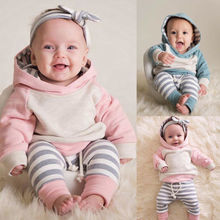 Baby Boy Girl Clothes Hooded Tops Striped Clothes