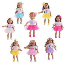 Doll Clothes 8 Pcs Dress With Free Head Accessories Unicorn/Mermaid/Butterfly Designs For 18 Inch American Doll &43 Cm Born Doll(China)