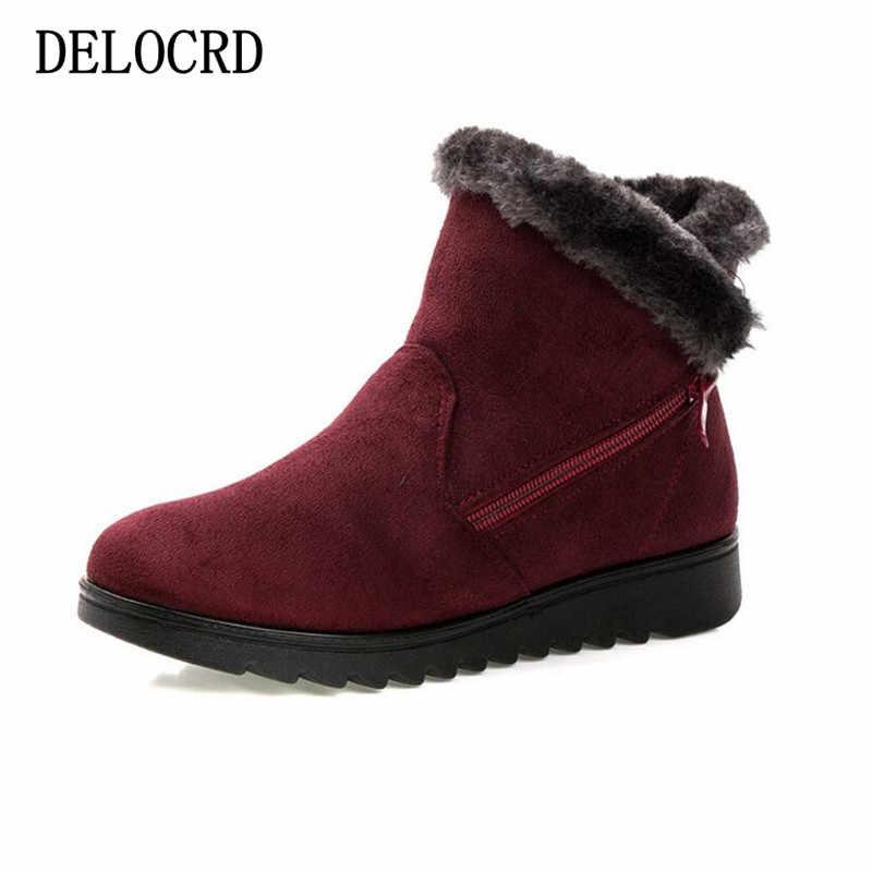 Las mujeres de la nieve de invierno botas damas caliente de piel de cuña de gamuza tobillo bota mujer 2019 zapatos casuales de moda Zapatos calzado de Confort Plus tamaño