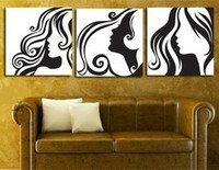 Hand painted Abstract Figure Oil Painting Modern Home Decor Wall Art 3 Panel Pictures Sexy Women Black White Canvas Paintings