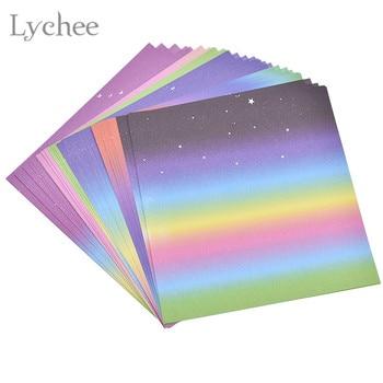 Padrão de lichia 48 Folhas de Cor Gradiente Sky Rainbow Origami Papel Único Sided Praça Crianças Arte Artesanato Scrapbooking